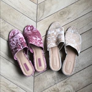 Two pairs of crushed Velvet slides size 10